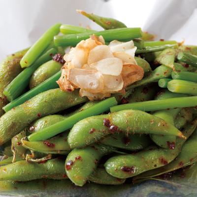 枝豆のピリ辛ガーリック炒め